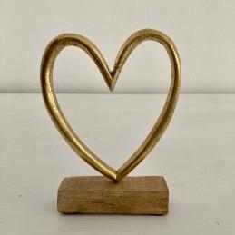 Srdce zlaté dřevo+kov střední