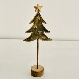 Strom plech zlatý+dřevo