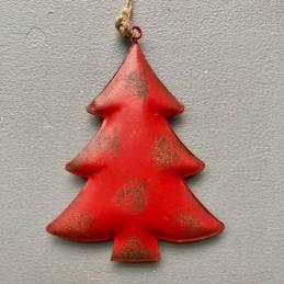 Ozdoba červený stromček plech