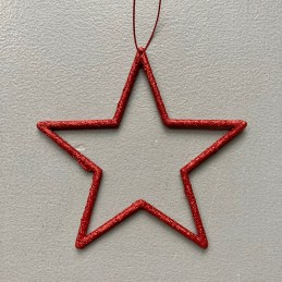 Ozdoba červená hvězda drát