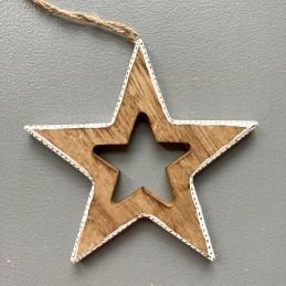 Ozdoba hvězda dřevo bílý okraj