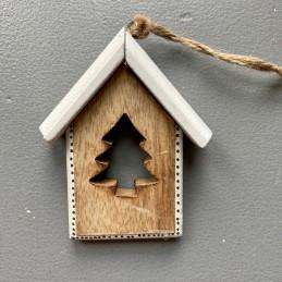 Ozdoba drevo domček biely...