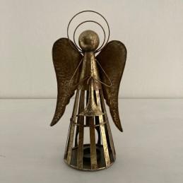 Anděl plech svícen zlatý