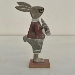 Zajac drevo šedo ružový 22 cm