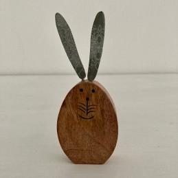 Zajíc dřevo uši smalt 17,5 cm