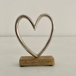 Srdce stříbrné dřevo+kov 16 cm