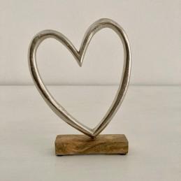 Srdce stříbrné dřevo+kov 12 cm