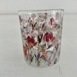 Svícen sklo kytičky 8,5 cm