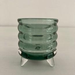Svícen sklo na nožkách zelený