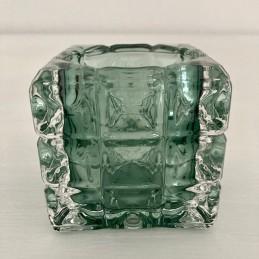 Svícen sklo tmavě zelený 7 cm