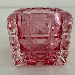 Svícen sklo světle růžový 7 cm