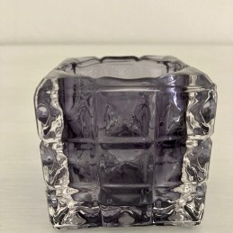 Svícen sklo šedo-fialový 7 cm