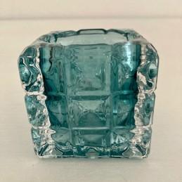 Svícen sklo modrý 7 cm